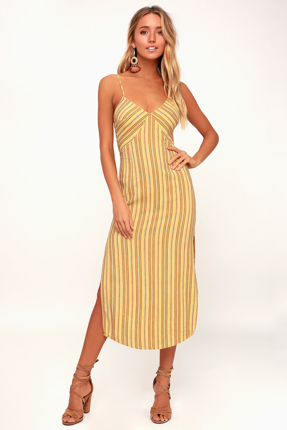 da1c2fe4821 Amuse Society White Sands - Yellow Striped Midi Dress