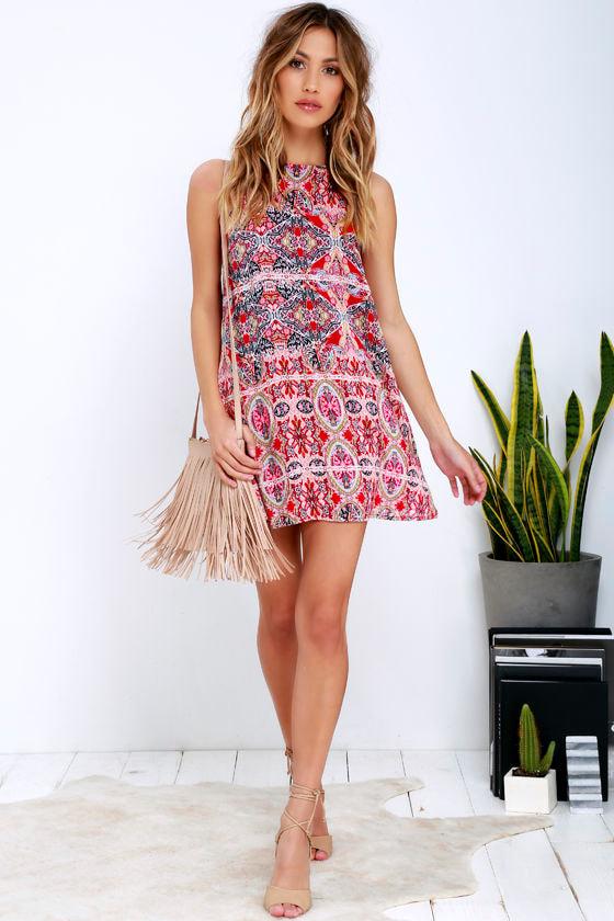 2e93c5de8afd Lovely Red Print Dress - Swing Dress - Sleeveless Dress -  39.00