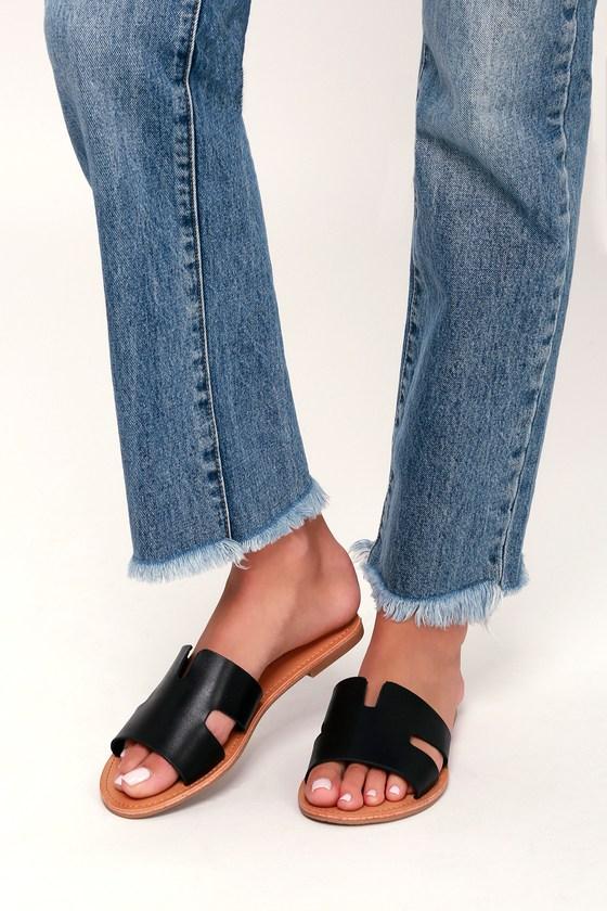 1943a5ee1bd5 Cool Black Sandals - Slide Sandals - Slip-On Sandals