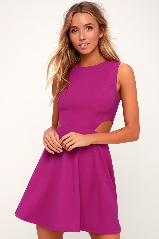 Toast to You Magenta Cutout Skater Dress