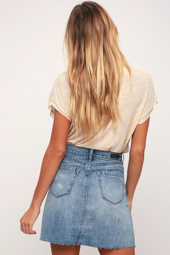 2c5cf09fda9 Black NYC Serengeti - Light Wash Denim Mini Skirt - Cute Skirt