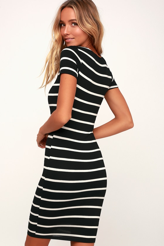 2992da9f3c7 Chic Black and White Striped Dress - Striped Bodycon Dress
