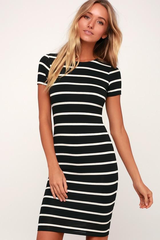 Topshop black and white striped bodycon dress instagram plus size