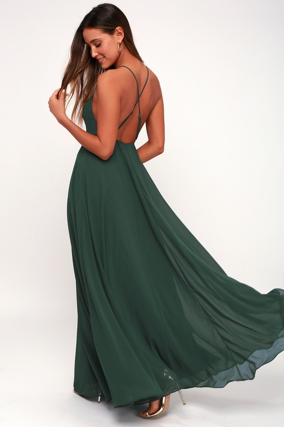 ddef1d9ff4f Beautiful Dark Green Dress - Maxi Dress- Backless Maxi Dress
