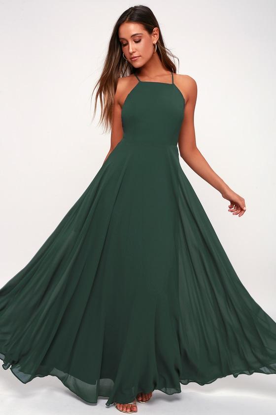 4877c019c35f35 Beautiful Dark Green Dress - Maxi Dress- Backless Maxi Dress
