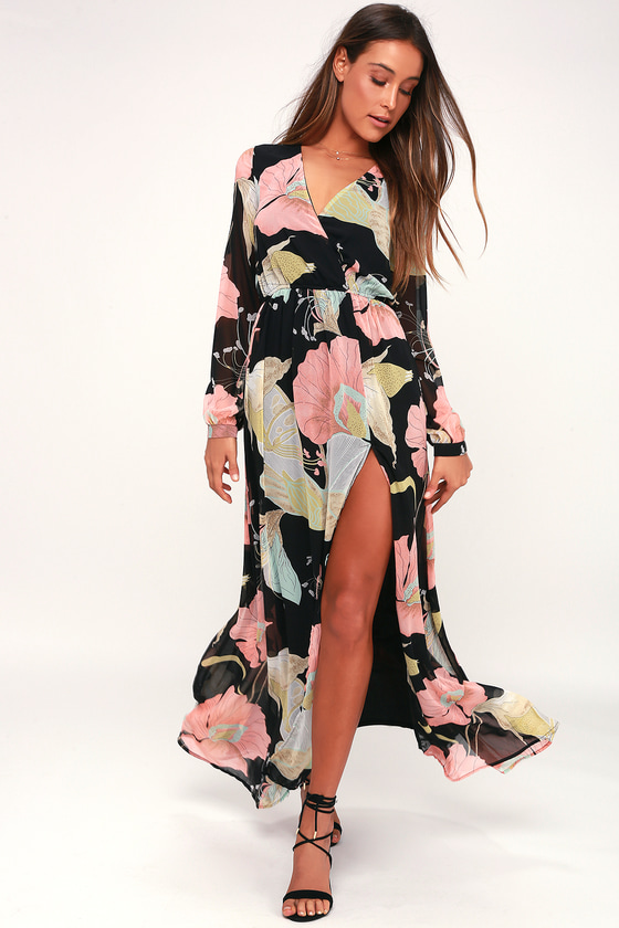 be3f380ae1d Lovely Black Floral Print Dress - Maxi Dress - Long Sleeve Dress