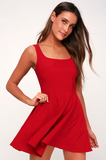 b53706277ec Pretty Red Skater Dress - Red Homecoming Dress