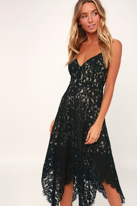 a2af375a588 Lovely Black Lace Dress - Midi Dress - Handkerchief Hem Dress