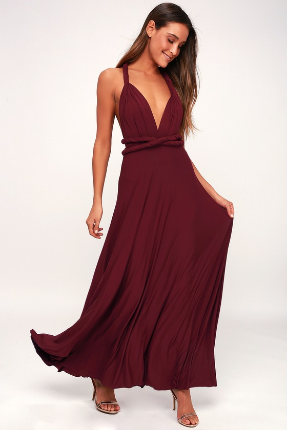 163f017912d1 Awesome Burgundy Dress - Maxi Dress - Wrap Dress