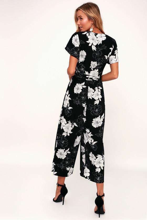 811e4184bf44 Black and White Floral Print Jumpsuit - Cute Culotte Jumpsuit