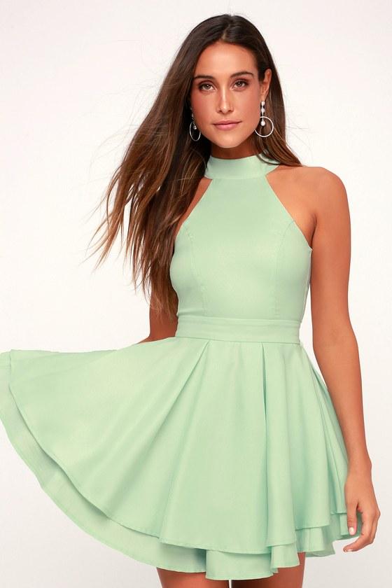 ab44c8f0c5 Cute Mint Green Dress - Skater Dress - Backless Dress