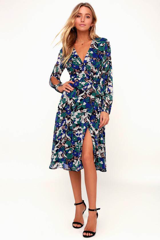 f5744cb21fee8 Lovely Black Floral Print Dress - Wrap Dress - Long Sleeve Dress