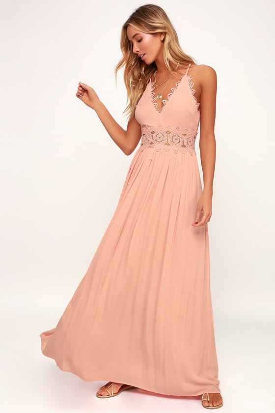 b340ad4d41 Pretty Blush Maxi Dress - Lace Maxi Dress - Plunge Neck Maxi