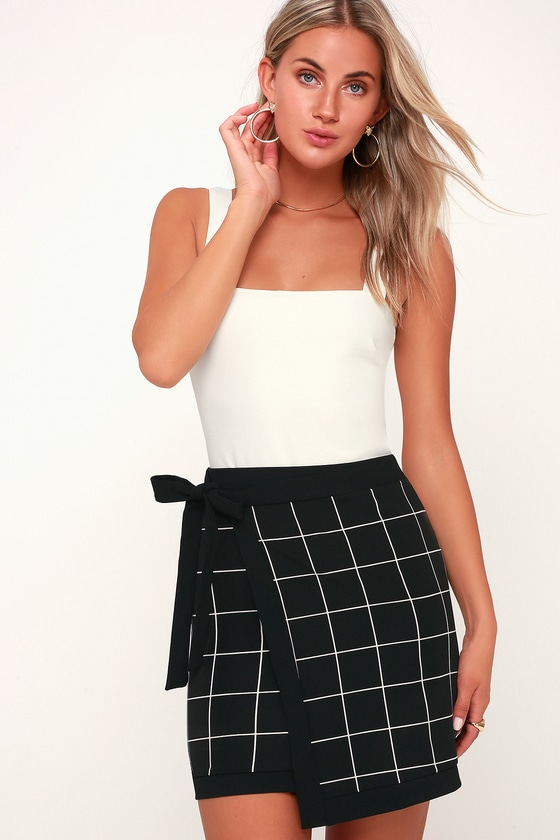 fbab0d645 Cute Black and White Skirt - Grid Print Skirt - Grid Wrap Skirt