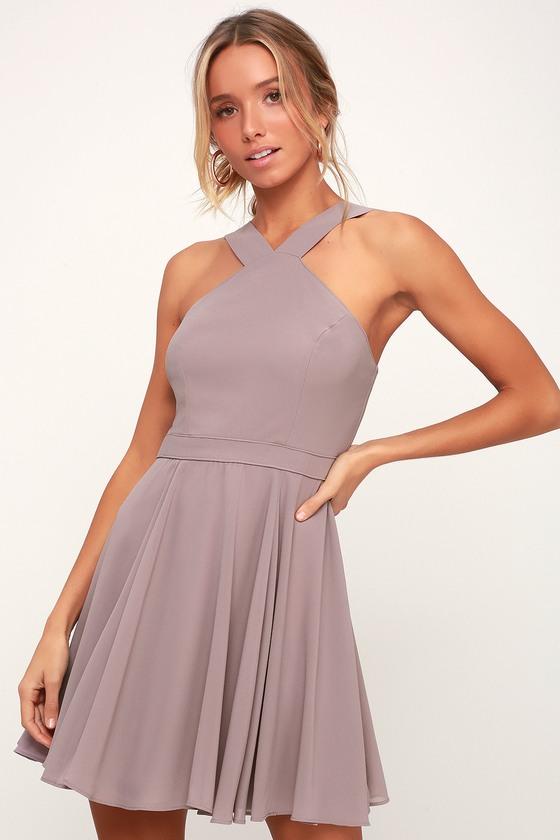 08f18be5ea Lovely Taupe Dress - Halter Dress - Skater Dress