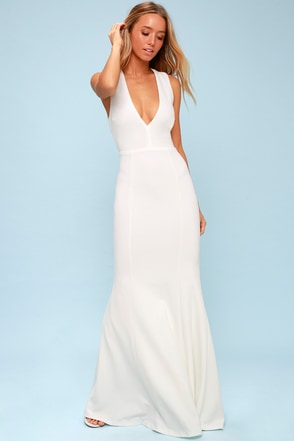 c273483051 Elegant White Dress - Maxi Dress - Open Back Maxi Dress