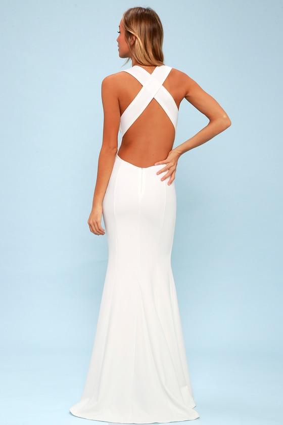 3b59be46081 Elegant White Dress - Maxi Dress - Open Back Maxi Dress