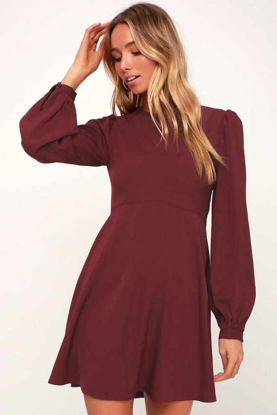 b9b7fe12784c Cute Dress - Burgundy Dress - Long Sleeve Dress