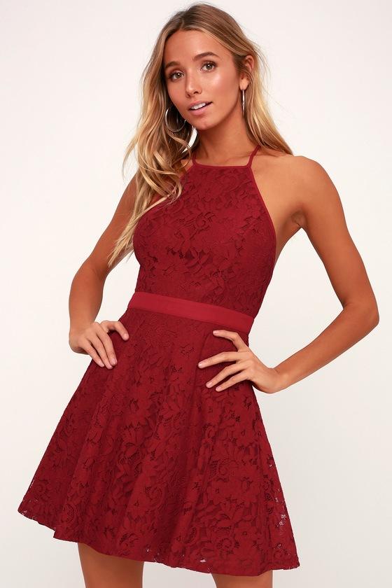 b5c29bbce9 Twirling Around Wine Red Lace Skater Dress