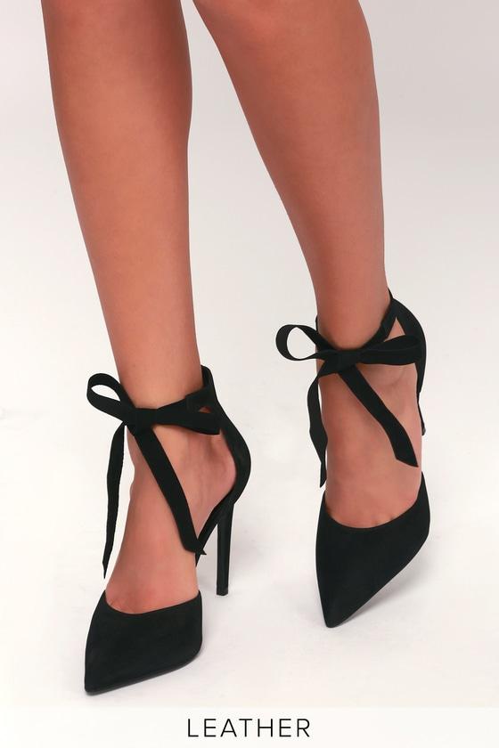 c6aba210ba8 Steve Madden Heart - Black Nubuck Leather Heels - Lace-Up Heels
