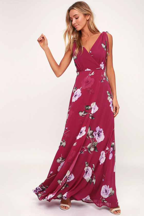 8bcb2cea3 Magenta Maxi Dress - Floral Maxi Dress - Plunging Maxi Dress