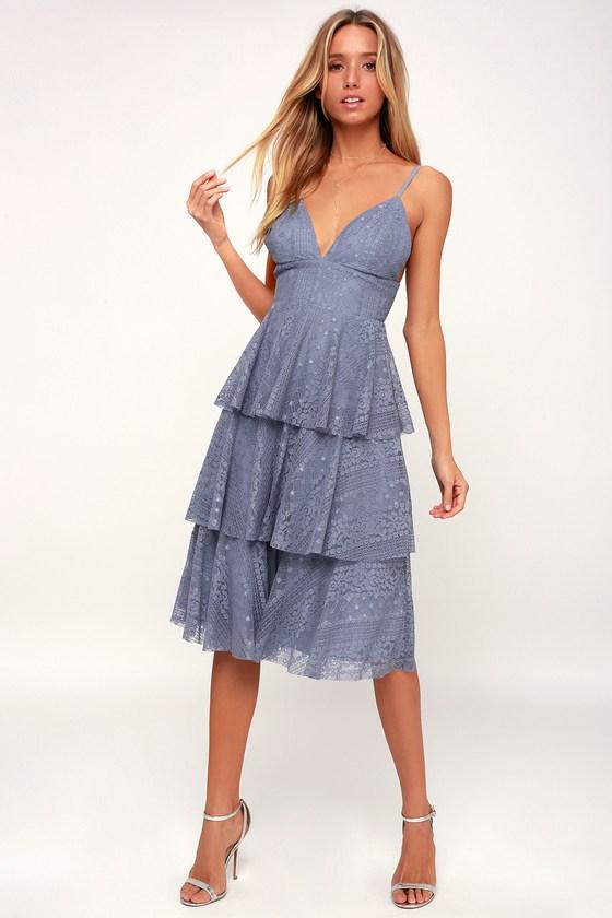 b3b88e5749c Cute Light Blue Dress - Lace Dress - Midi Dress - Ruffled Dress