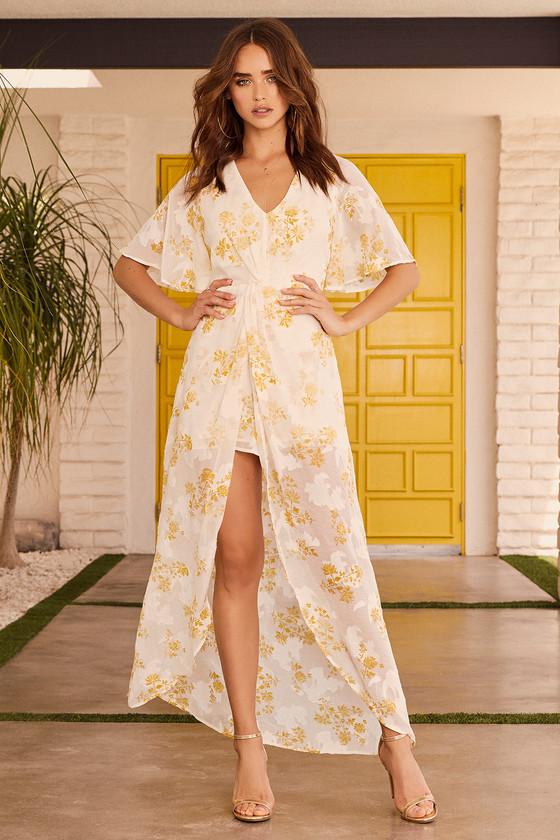1dc9471289d 4SI3NNA Luna - White and Yellow Floral Print Romper - Maxi Romper