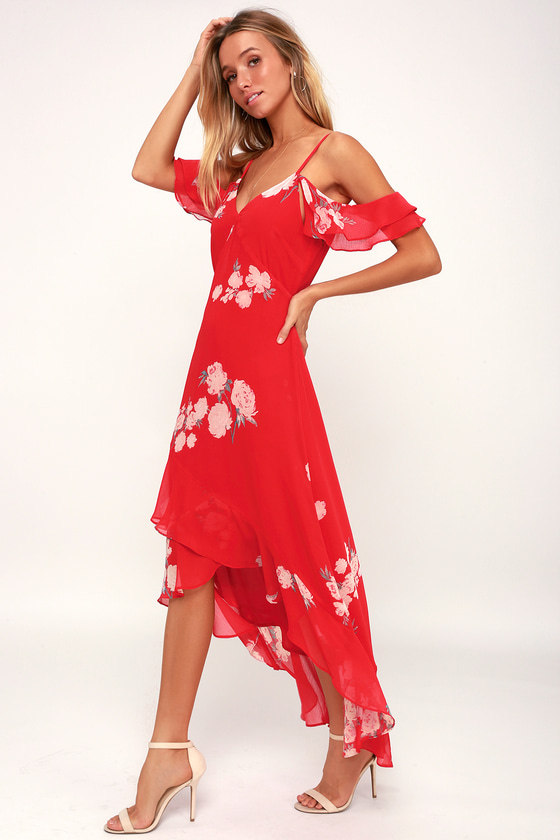 Love in Bloom Red Floral Print Off-the-Shoulder High-Low Dress - Lulus