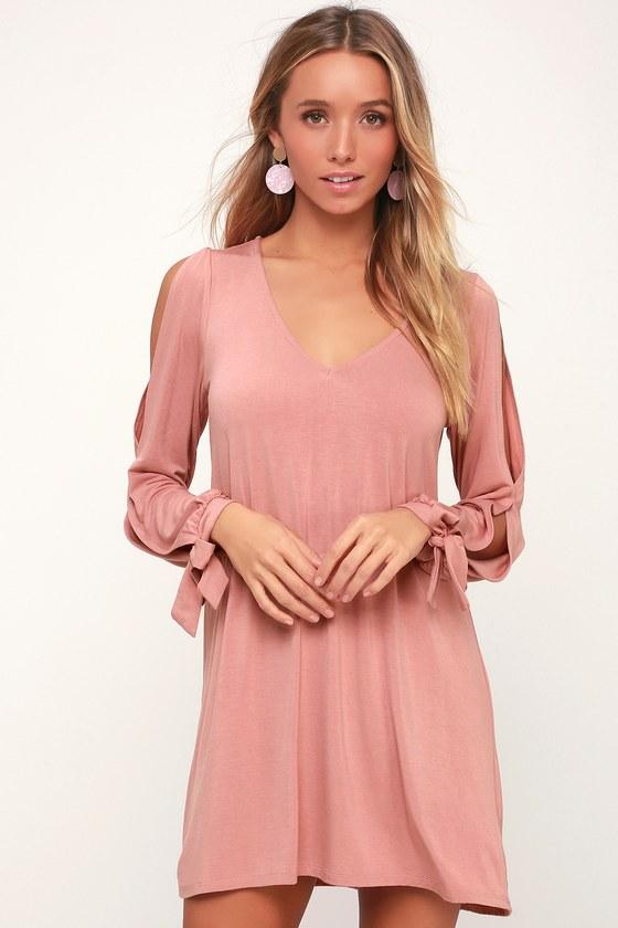 de5b9e435747 Cute Mauve Dress - Mauve Shift Dress - Mauve Cold Shoulder Dress