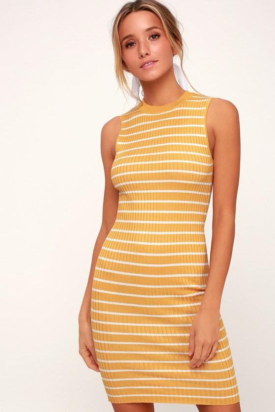 852159bc3f37 Cute Yellow Striped Dress - Ribbed Knit Dress - Bodycon Dress