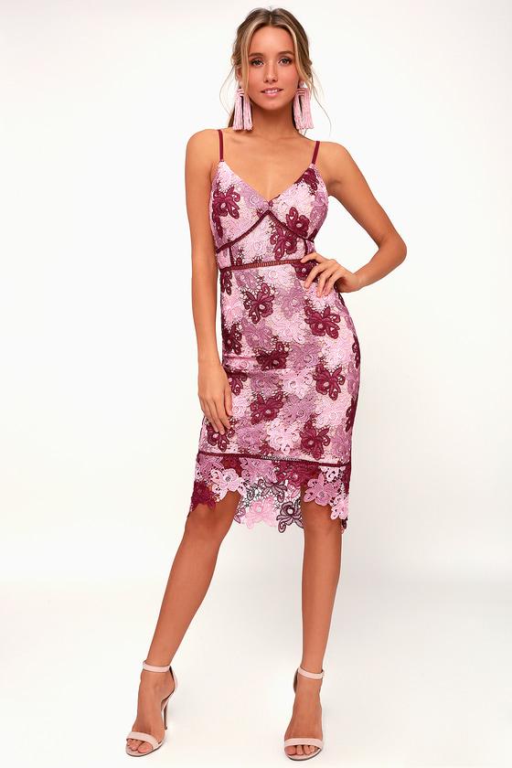 18a5a9ecce5 Stunning Mauve Multi Lace Dress - Lace Bodycon Dress - Bodycon