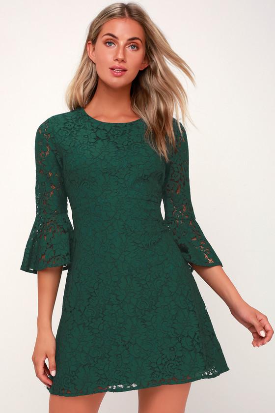 dc529b0ee10 Cute Green Dress - Lace Dress - Flounce Dress - Party Dress