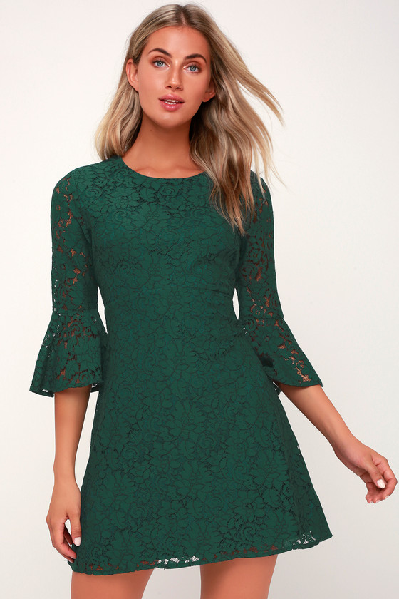 favorite-flair-forest-green-lace-flounce-sleeve-dress by lulus