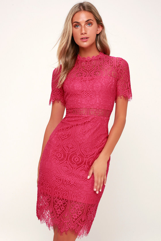 Chic Fuchsia Dress Fuchsia Lace Dress Fuchsia Sheath Dress