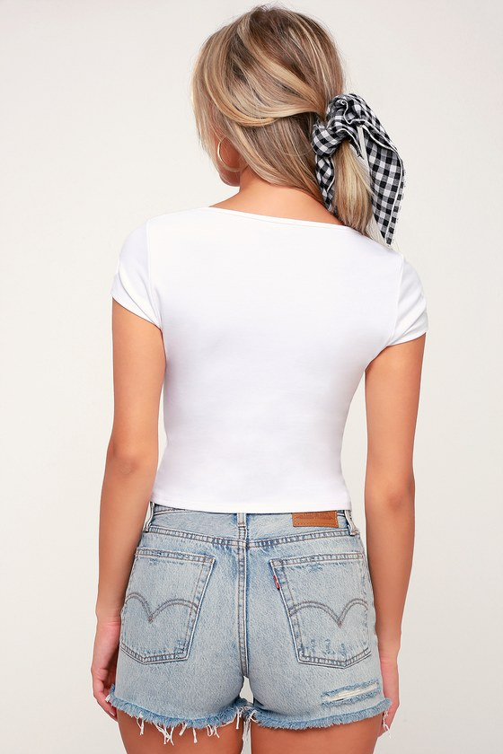826afa46e47 Cute White Crop Top - Short Sleeve Crop Top - White Cropped Tee