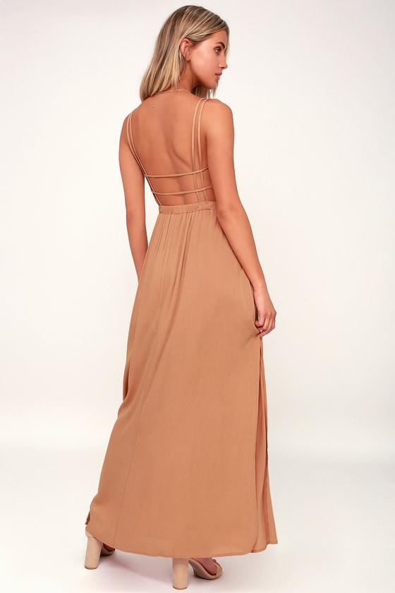 746ceb741245 Cute Light Brown Dress - Brown Strappy Dress - Brown Maxi Dress
