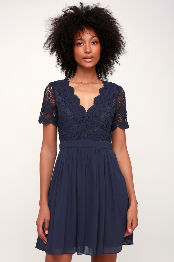 26420a6e929 Lovely Navy Blue Dress - Skater Dress - Blue Lace Dress