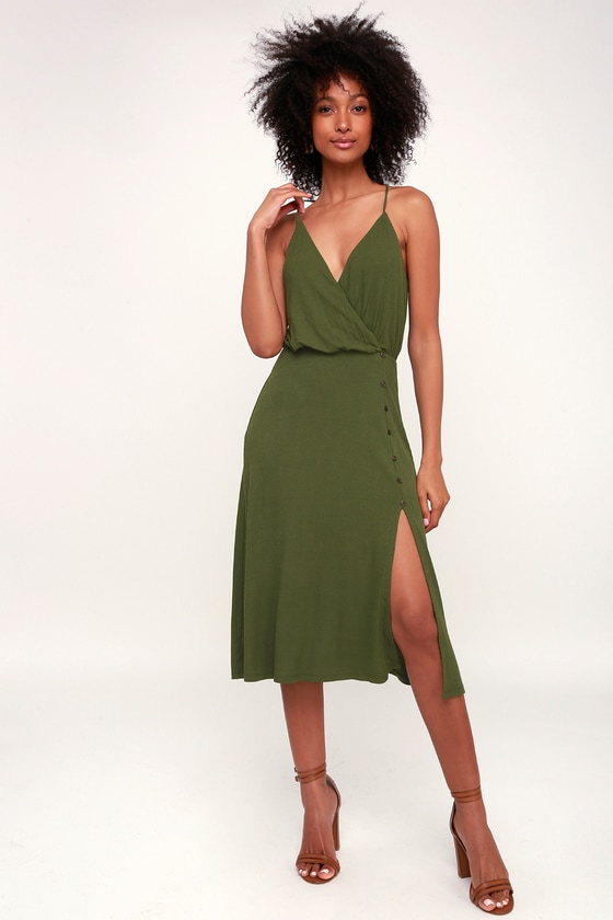 4c1e01fe4fc6 LUSH x Lulus Dress - Olive Green Midi Dress - Ribbed Knit Dress
