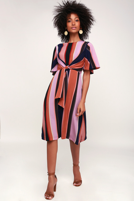 70s Dresses – Disco Dresses, Hippie Dresses, Wrap Dresses Holland Lavender Multi Striped Short Sleeve Tie-Front Midi Dress - Lulus $41.00 AT vintagedancer.com
