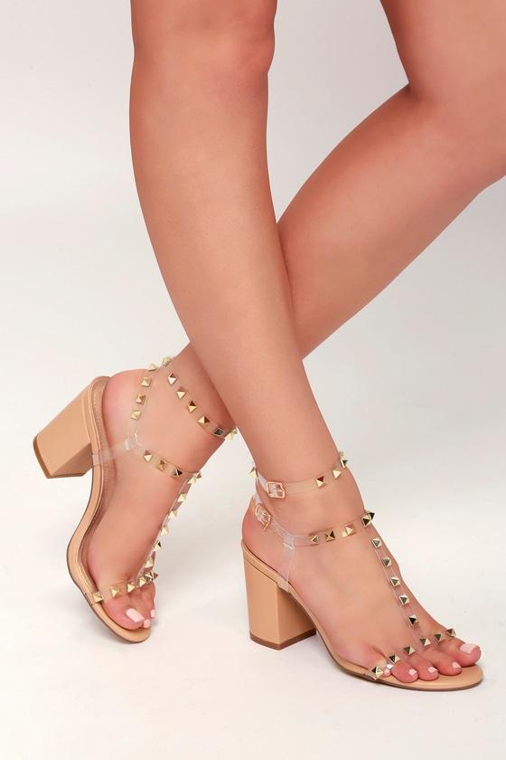 ef0d31f9c94 Cool Studded Heels - Nude Heels - Vinyl Strap Heels - Block Heels