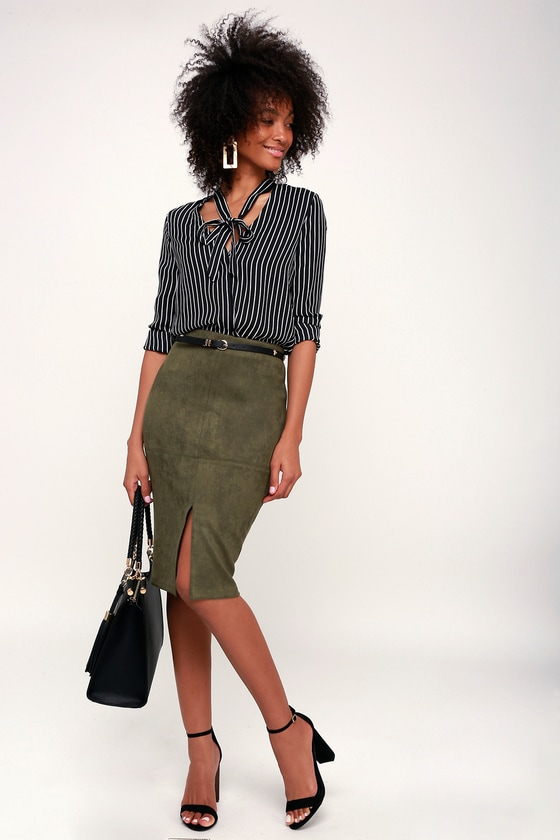 fb8ecd94f Chic Pencil Skirt - Vegan Suede Skirt - Olive Green Suede Skirt
