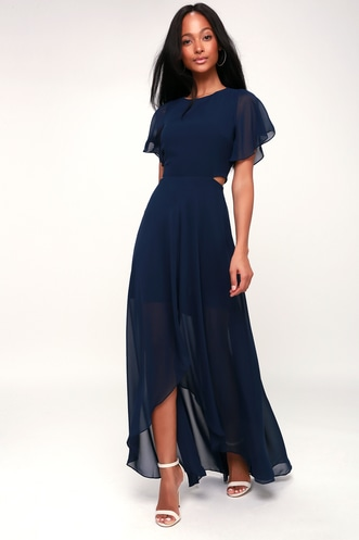 5c9091f1912 Bohemian Rhapsody Navy Blue Cutout High-Low Dress