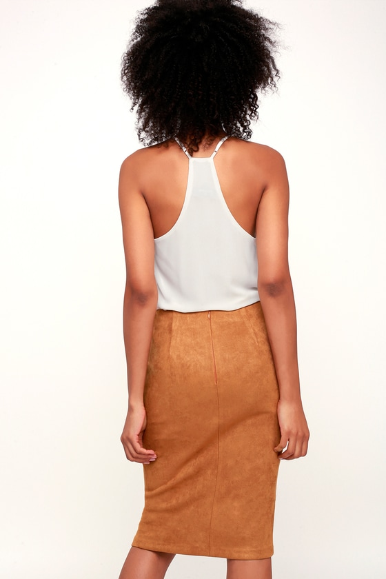5184682440 Chic Tan Pencil Skirt - Vegan Suede Skirt - Brown Suede Skirt