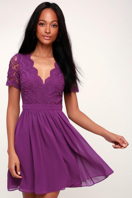 9575f4020b04 Lovely Purple Dress - Purple Skater Dress - Purple Lace Dress