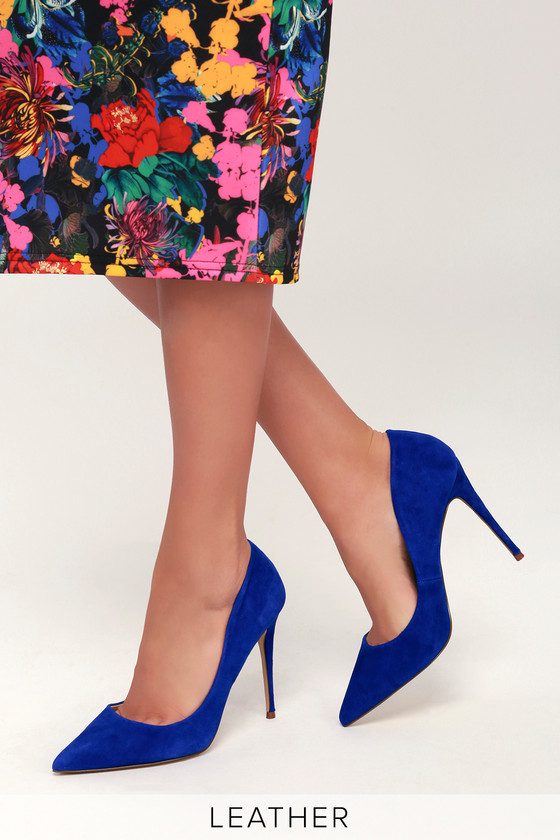 f8e2f58be56 Daisie Blue Suede Leather Pumps