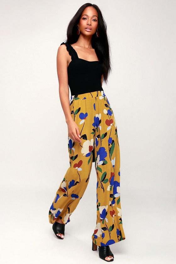 Vintage High Waisted Trousers, Sailor Pants, Jeans Palladio Mustard Yellow Multi Print Wide-Leg Pants - Lulus $54.00 AT vintagedancer.com