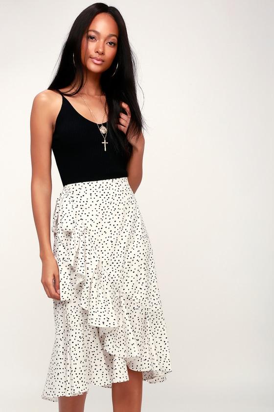 Chic Black and White Polka Dot Skirt - Midi Skirt - Wrap Skirt e986f07a2