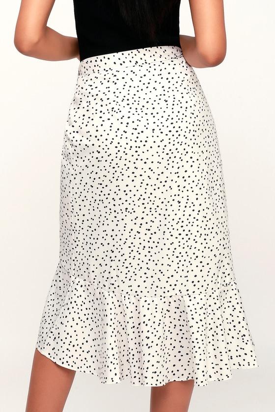 8a14afd14720 Chic Black and White Polka Dot Skirt - Midi Skirt - Wrap Skirt