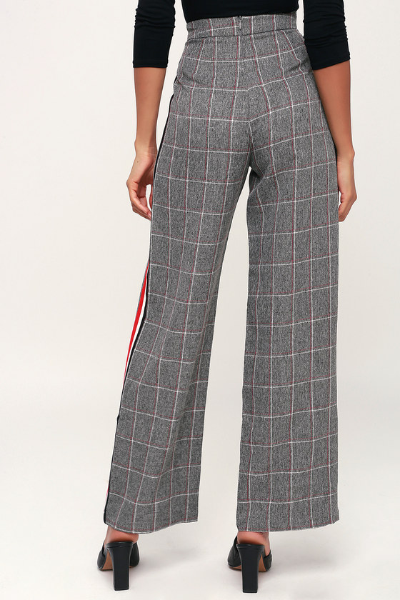 Cool Grey Plaid Trousers Trouser Pants Side Stripe Trousers