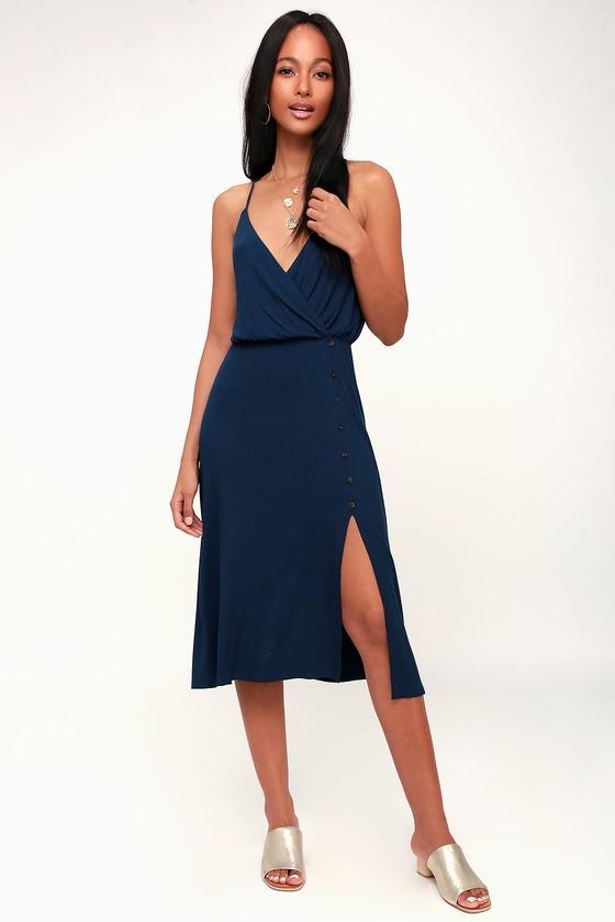 390054a9baac LUSH x Lulus Dress - Navy Blue Midi Dress - Ribbed Knit Dress